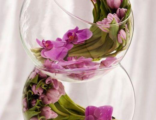 Centros de mesa con recipientes de vidrio para boda for Mesas de cristal para bodas